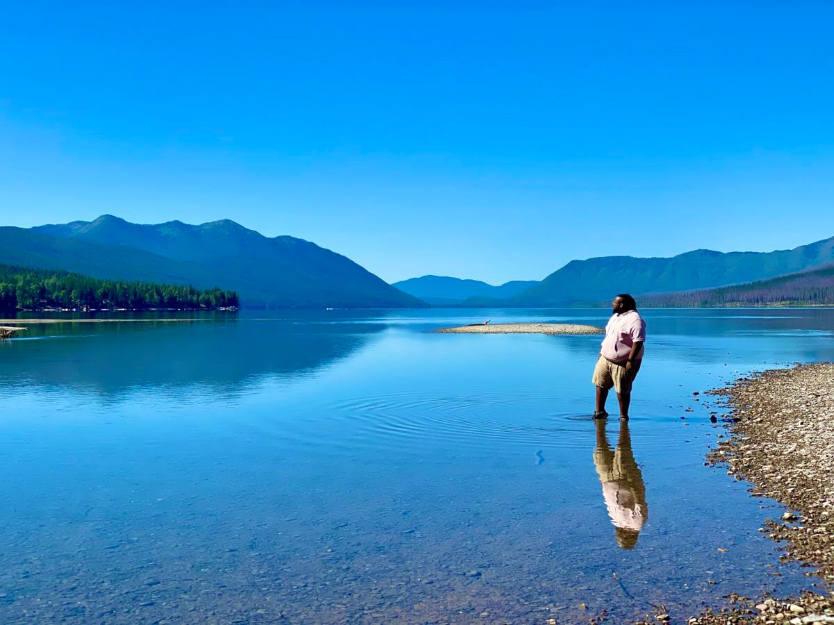 Jeff Jenkins in the water of Lake McDonald in Glacier National Park