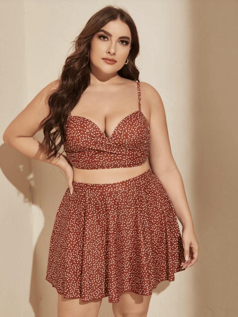 Best Plus Size Swim WearCurvy Shein Model in red and white polka dot two piece bikini