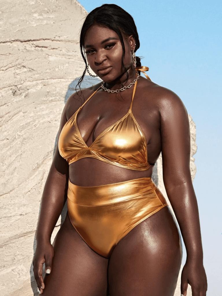 Curvy Shein model in gold two piece bikini
